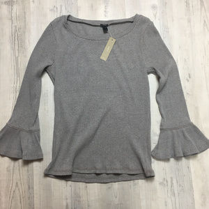 J. Crew Grey Ribbed Bell Sleeve Top Basic New S